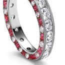 Rich Red Ruby in Gold and Platinum Rings