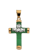 Real Green Jade Crucifix Pendant