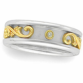 Two Tone Gold Wedding Anniversary Diamond Etruscan Band