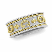 Two Tone Gold Wedding Anniversary Etruscan Band