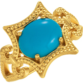 Gold Wedding Anniversary Etruscan Ring with Turquoise