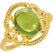 Gold Wedding Anniversary Etruscan Ring with Peridot