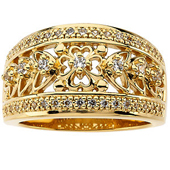 Wedding Anniversary Yellow Gold Floral Etruscan Band
