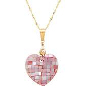 Real Mother of Pearl Gold Heart Pendant Necklace