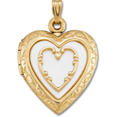 Real Mother of Pearl Gold Heart Pendant