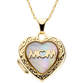 Real Mother of Pearl Gold Heart Engraved Pendant
