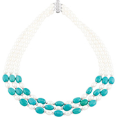 Real Turquoise and Pearl Necklace