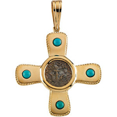 Real Turquoise Gold Cross Pendant