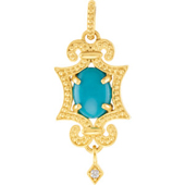 Real Turquoise Gold  Pendant