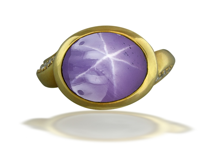 Image of Art Nouveau Gold Bright Vibrant Blue Star Sapphire Cabochon Ring Flanked with Round Diamonds