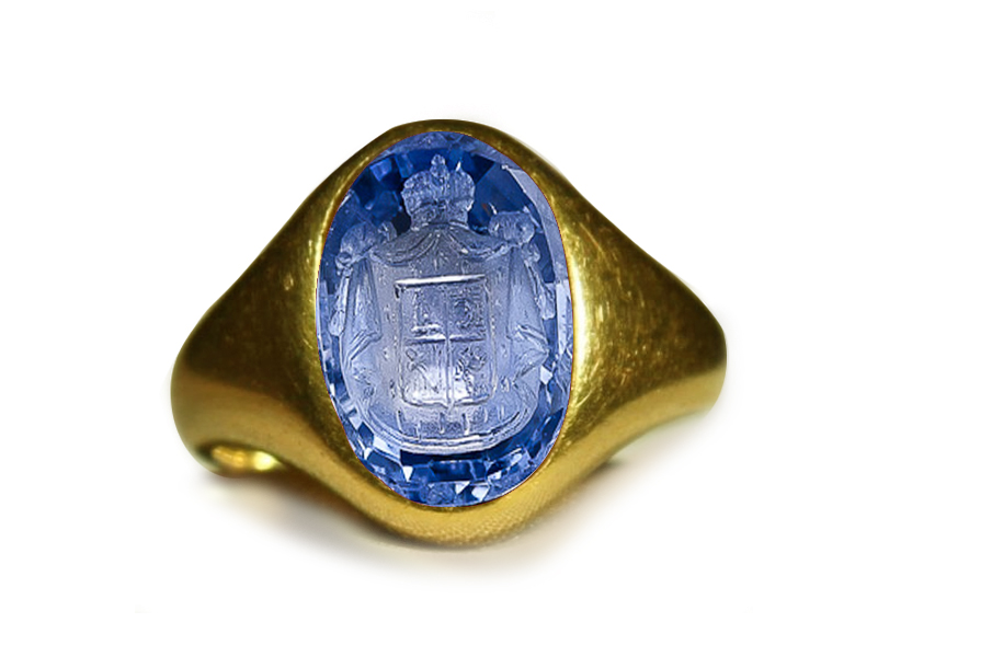Authentic Ancient Signet Rings with Rich Blue Color & Vibrant Trade from Burma Sapphire in Gold Signet Ring Depicting a Head of a Royal- Emblem Warrior, Goldsmith Designs, Copies & Images, Artist Antonio Berini Gem-cutter in Roman Court