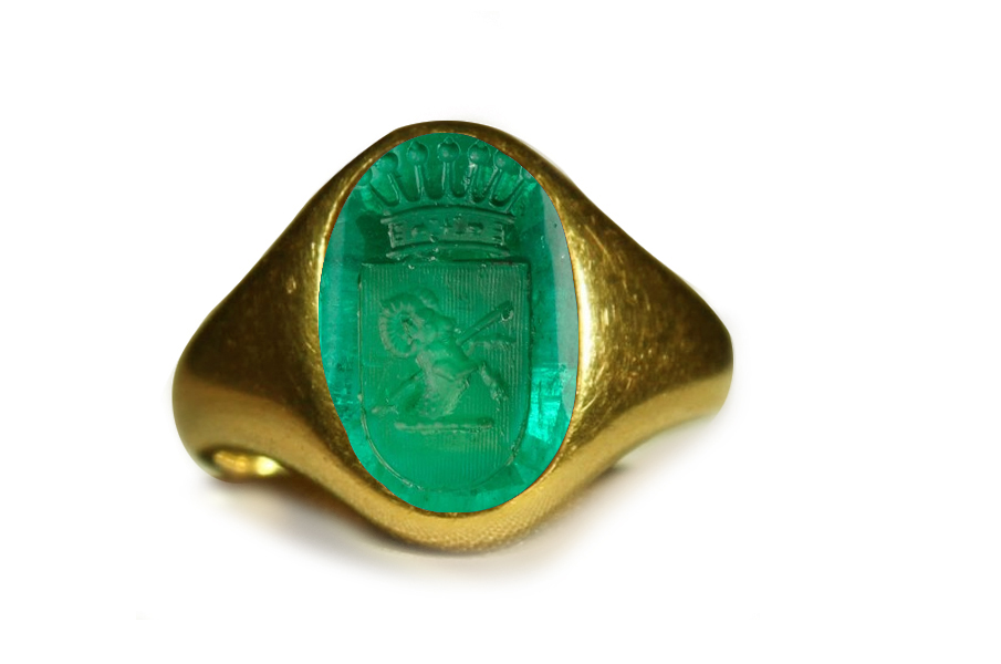 Authentic Ancient Signet Rings with Rich Green Color & Vibrant Egypt Emerald Red Sea in Gold Signet Ring Depicting A Ram and A Crown Jewel, Roman Court Gem-cutter Antonio Berini, Goldsmith Designs, Copies & Images, Artist Florentine Gem Cutter of the time of Lorenzo de Medici (1449 -1492) Workshop Roman & French Courts