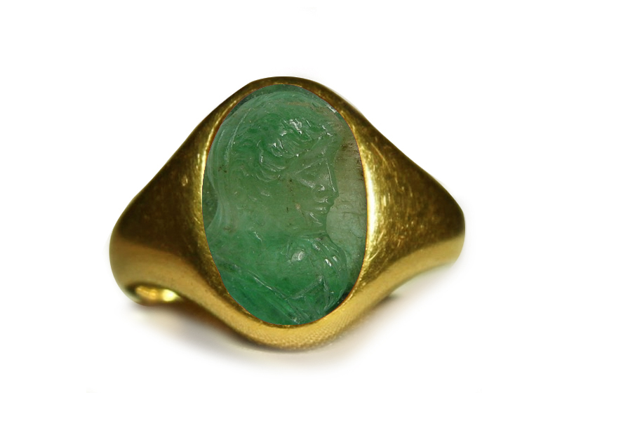 authentic ancient signet rings with rich green color