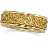 Celtic Wedding Band. Available in Yellow Gold and White Gold