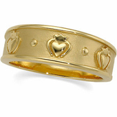 Claddagh Wedding Band. Available in Yellow Gold and White Gold