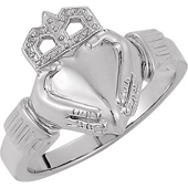 Claddagh Ring. Available in Yellow Gold and White Gold