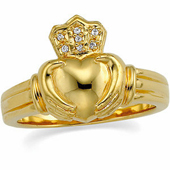 Claddagh Bridal Ring. Available in Yellow Gold and White Gold