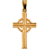 14K Yellow Gold Celtic Cross Pendant