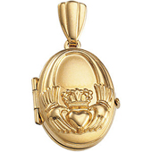 14K Yellow Gold Oval Claddagh Locket