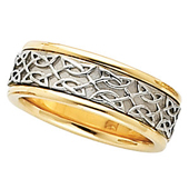 Two Tone 14K Gold Celtic Bridal Band.