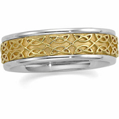 Two Tone 14K Gold Celtic Anniversary Band.