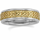 Two Tone 14K Gold Celtic Wedding Band.
