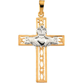 Two Tone 14K Gold Claddagh Cross Pendant