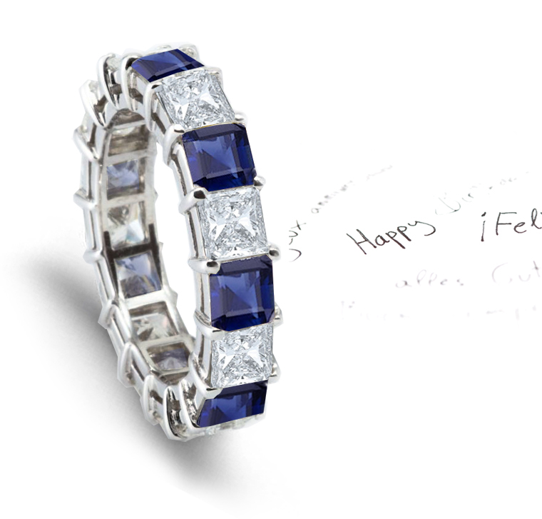 U Prong Blue Sapphire and Diamond Eternity Ring in Platinum