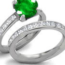 Emerald Eternity Ring with Diamonds