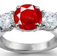 14-K White Gold Ruby & Diamond Ring