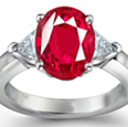Trillion Cut Diamond and Ruby Ring, 3 Stone Ruby Ring