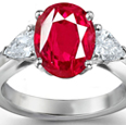 14-K White Gold Ruby Diamond Engagement Ring