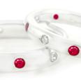 Diviniti 14-Karat White Gold Created Rubyand Diamond Ring