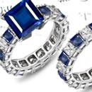 Mens Square Sapphire & Diamond Rings