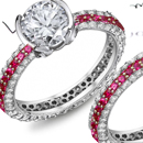 14k White Gold Ruby Ring Pave Setting with Certified Diamonds