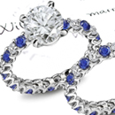 Sapphire Ring - Art Deco with Diamond accents