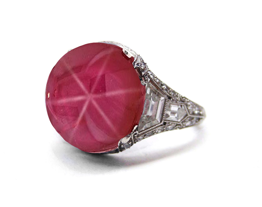 Edwardian, Belle Epoque, French Platinum, Bright Red Luscious, Deeply Saturated Star Ruby Cabochon Ring Flanked with Baguette Diamonds