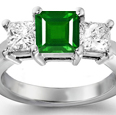 Princess Cut Emerald & Diamond Ring