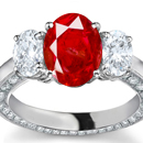 Oval Cut Diamond and Ruby Ring, 3 Stone Ruby Ring