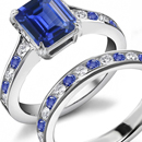 SIMPLE QUALITY CENTER SAPPHIRE 32 DIAMOND 14K WHITE GOLD RING!