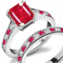 Princess Cut Ruby Ring with Round Diamonds