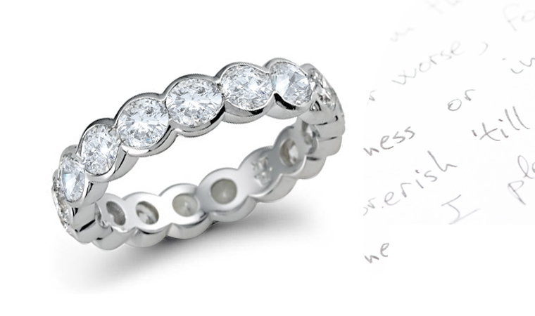 or bashert eternity precious polka diamonds products unique in bezel round dot bands platinum diamond white pattern gold grande playful design set wedding jewelry band