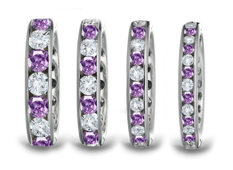 Gallery For Purple Diamond Wedding Band
