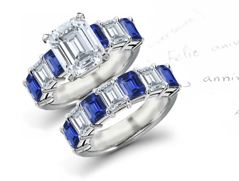 Affordable Designer Sapphire Diamond Engagement Wedding Rings