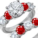 Diamond Ring with Genuine Ruby (Clevage None, Sreak Colorless)