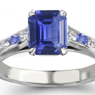 FANCY Solid 14Kt WG White Gold Diamond Natural blue Sapphire Wedding Ring CT308