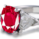 Trapezoid Cut Diamond and Ruby Ring, 3 Stone Ruby Ring