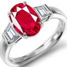 Shield Cut Diamond and Ruby Ring, 3 Stone Ruby Ring