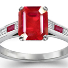Baguette Cut Diamond and Ruby Ring, 3 Stone Ruby Ring