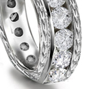 Three and five stone rings in many combinations with plain, chased, engraved, fluted, embossed or carved swettings